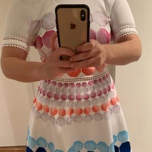 Ted Baker London White and Bright Color Dress